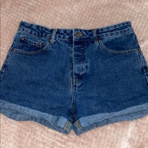 cuffed and creased denim shorts